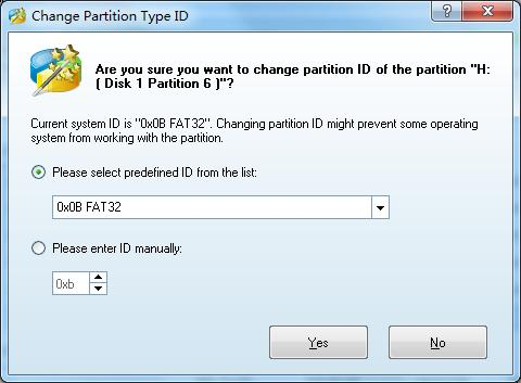Change Partition Type ID