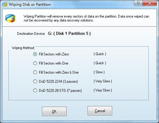 wiping disk or partition